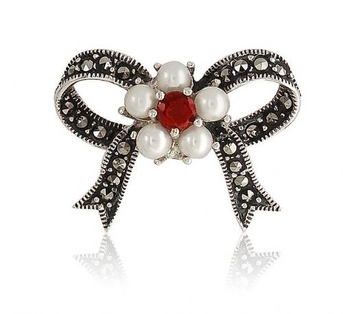 Silver Pearl, Garnet  And Marcasite Bow Brooch